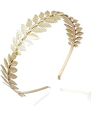 Gold 3-Branch Q&Q Fashion Roman Goddess Leaf Branch Dainty Bridal Hair Crown Head Dress Boho Alice Band