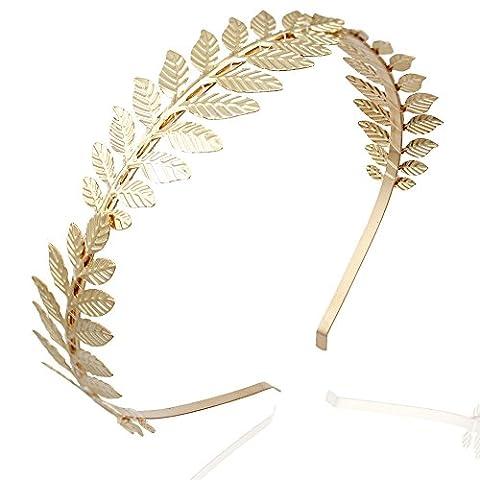 Gold Plated Q&Q Fashion Roman Goddess Leaf Branch Dainty Bridal Hair Crown Head Dress Boho Alice (Religious Gold Crowns)