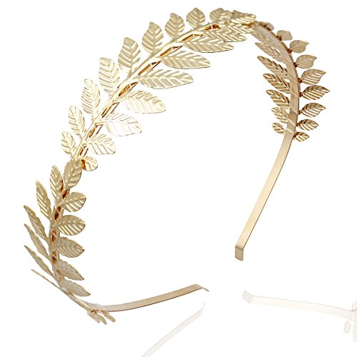 RechicGu Gold 3-Branch Roman Leaf Branch Dainty Bridal Hair Crown Headband Dress Boho Alice Band (Ear Goddess Cuff)
