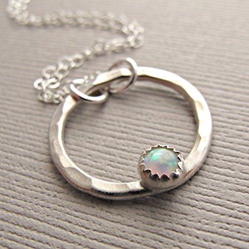 Sterling Silver Opal Necklace, White Opal Pendant Necklace, Sterling Silver Opal Jewelry, Opal Jewelry, October Birthstone Jewelry,Circle Opal
