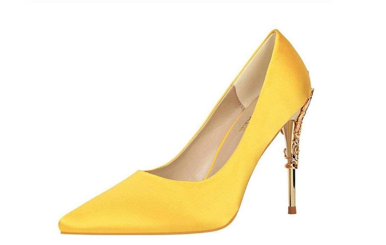 Spitzschuh Low Mid Mid Mid Kitten Heels Kleid Court Schuhe Hochzeit Büro Schuhe Satin Obermaterial Für Frauen Damen Candy Farbe Sandalen (Farbe   Gelb, Größe   EU38) fab30b