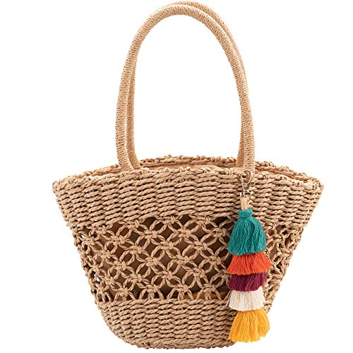 Summer Beach Straw Bag, Hollow Out Rattan Tote Bag Drawstring Basket Bag Hand-woven Handbags with Pom Poms Tassels