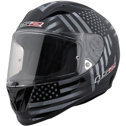 Glory Full Face Helmet - LS2 Arrow Old Glory Full Face Motorcycle Helmet (Black/Gray, Small)