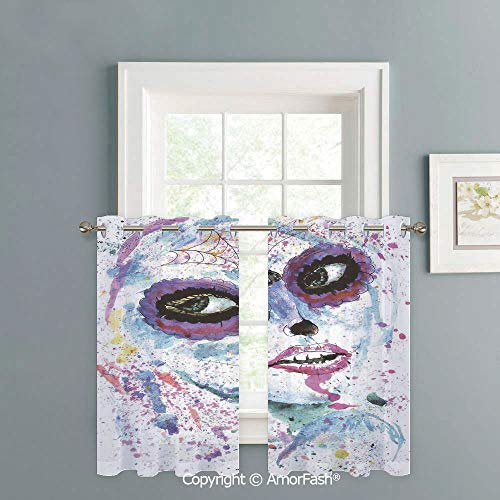 (Kitchen Window White Sheer Curtains - High Thread Sheer Voile Draperies with Grommet Top,W42 x L36-Inch,Girls Grunge Halloween Lady with Sugar Skull Make Up Creepy Dead Face Gothic Woman)