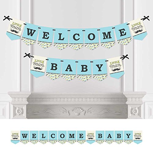Big Dot of Happiness Dashing Little Man - Baby Shower Bunting Banner - Mustache Party Decorations - Welcome Baby