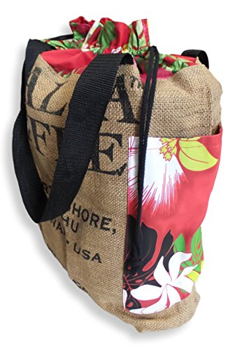 Up-cycled Substantial Coffee Bean/Burlap Novelty Bag Handmade in Hawaii (Red Floral)
