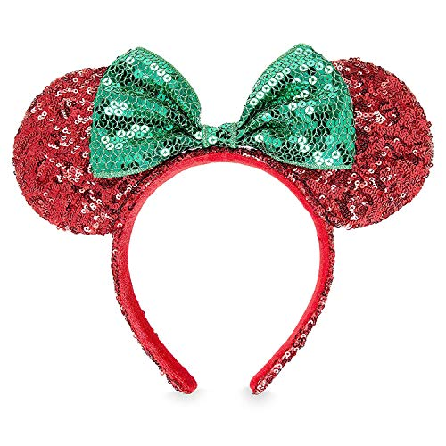 Disney Minnie Mouse Christmas Headband Ears Sequins Bow Green Red Theme Parks (Mickeys Very Merry Christmas Party Magic Band)
