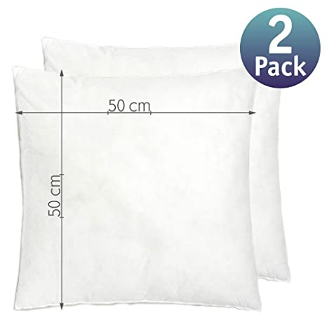 Relleno cojín | Relleno almohada. Relleno de fibra hueca, hipoalergénico, indeformable y lavable. 100% poliéster. Varias medidas. (50 x 50 / Pack 2)
