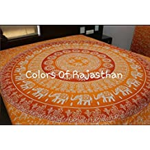 Christmas Gift Cor's Orange Ombre Mandala Tapestry, Hippy Throw Mandala Tapestry Indian Wall Hanging, Tapestry, Bohemian, Tapestries, Queen Bedsheet Bedspread Hippie