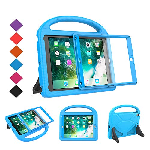 BMOUO Kids Case for New iPad 9.7 2018/2017 - Built-in Screen Protector Shockproof Light weight Handle Convertible Stand Case Cover for Apple iPad 9.7 Inch 2018 (6th Generation) / 2017 (5th Gen) - Blue ()