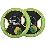 SPORT BEATS Outdoor Bouce-Back Trampoline Paddle Ball Game Set for 2 Player 1 Balls Included (Green)