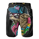 Rainbow Music Cat Men Casual Drawstring Beach Shorts Pants Pocket