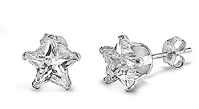 Tiny Sterling Silver Black Cubic Zirconia Star Stud Earrings - SIZE: TINY 4mm . Gift boxed Back earrings 5760BKZ mhneDlxXC