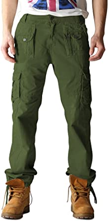 OCHENTA Mens Cotton-Washed Casual Cargo Trousers