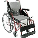 Karman Healthcare S-115 Ergonomic Ultra Lightweight Manual Wheelchair, Rose Red, 20-Inch Seat Width