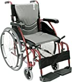 Karman Ergonomic Wheelchair in 16 inch Seat and Quick Release Axles, Red Frame