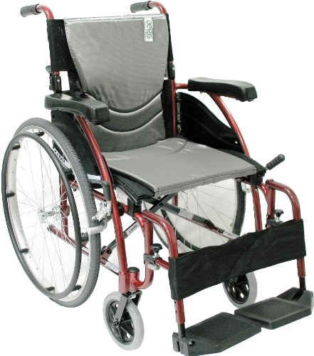 Karman Healthcare S-115 Ergonomic Ultra Lightweight Manual Wheelchair, Rose Red, 18 Inches Seat Width by Karman Healthcare