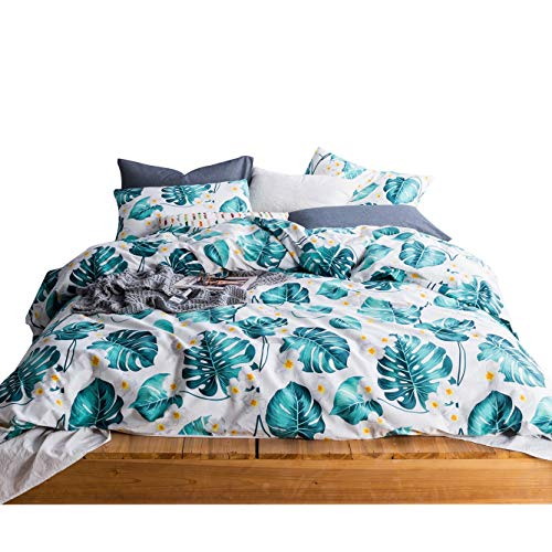 SUSYBAO 3 Pieces Monstera Plant Duvet Cover Set 100% Cotton White King Size Green Tropical Leaf Bedding Set with Zipper Ties 1 Floral Duvet Cover 2 Pillowcases Luxury Quality Soft Breathable Durable
