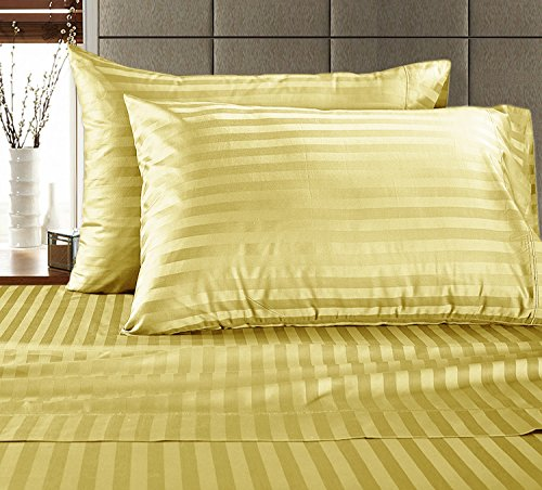 Price comparison product image Chateau Home Hotel Collection - Luxury 500 Thread Count 100% Egyptian Cotton Damask Stripe Deep Pocket Super Soft Sateen Weave Sheet Set, Mega Sale Lowest Prices (QUEEN, YELLOW)