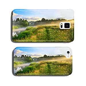 panorama of a summer landscape with sunrise, fog and the river cell phone cover case iPhone6