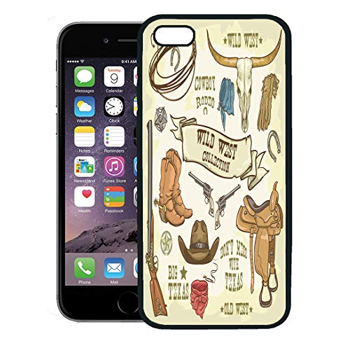 Semtomn Phone Case for iPhone 8 Plus case,Western Wild West Collection Cowboy Stuff Texas Rodeo Hat Longhorn iPhone 7 Plus case Cover,Black
