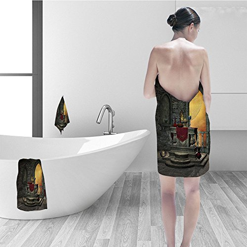 Nalahomeqq Hand towel set Gothic Decor Ancient Altar Holy Table in Castle Baroque Inspired Alchemy Wizard Design Fabric Bathroom Decor Grey Yellow by Nalahomeqq