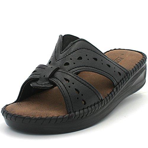 Women's Memory Foam Sandals Slippers Shoes Leather Upper Casual Flat Comfortable (7.5 D(M) US Women, BLACK-26)