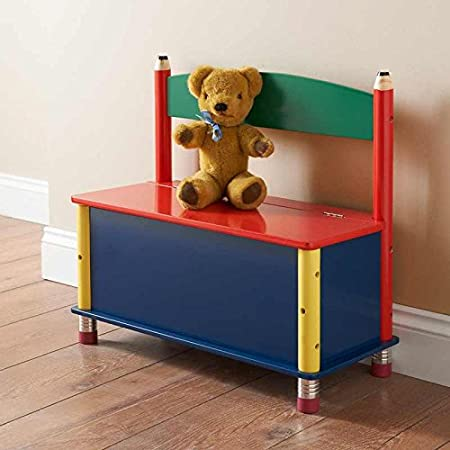 Kids Room Nursery Colourful Furniture Storage Bench Gift Blue Red Yellow  Green