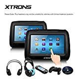 XTRONS Black 2X Twin Car headrest DVD player 9' HD Touch Screen with FM Game Disc Mp3 IR Headphones