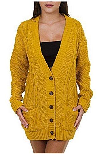 OgLuxe Women's Ladies Long Sleeve Pocket Cable Knit Chunky Cardigan Size 6-24 (XXL/XXXL (UK 24-26 EU 52-54 US 20-22), Mustard) (Knit Chunky Cable)