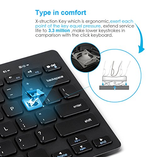 Multi-Devices Ultra-Slim Bluetooth keyboard with foldable magnetic stander for Android windows iOS , Design for PC Tablet Smartphone, black by Ldex (Image #3)