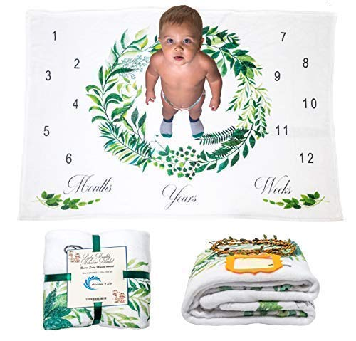 """All Included Plush Baby Monthly Milestone Blankets Boy & Girl, Growth Month Blanket, (60""""x40"""") Personalized Photo Background, Thick Fleece for Newborn Infant Shower Gift, Watch Me Grow, Floral Uni"""