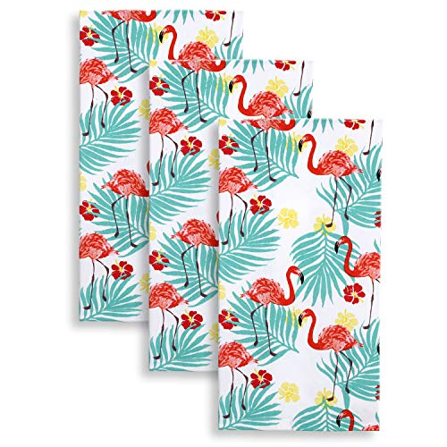 - Cackleberry Home Tropical Flamingo Kitchen Towels 18 x 28 Inches 100% Cotton, Set of 3