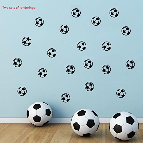 BIBITIME 11x11cm Soccer Ball Sticker Wall Art Decal for Bedroom World Cup Sport Fans Home Decor (Soccer - 20 pcs) -