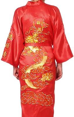 Amazon.com  Chinese Men s Silk Satin Embroider Kimono Robe Gown Dragon  (Red fe3c8eff4