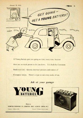 1953 Ad Crompton Parkinson Young Car Battery Automobile Parts Cartoon Art Garage - Original Print Ad