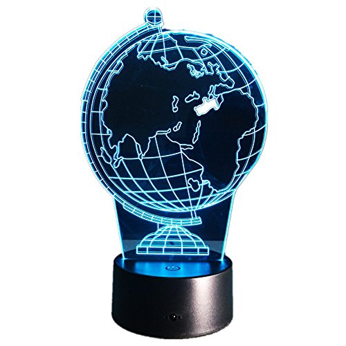 Earth Globe DIY Atmosphere 3D Illusion Creative Decorative Night Lamp Led Bulbs usb Holiday Night Light With 7 Colors Change Globe Hologram