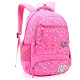 Primary School Bag Backpack for Girls 7-12 Years Old, Uniuooi Waterproof Nylon Travel Rucksack Multi Compartment Kids Children Book Bag (Pink)