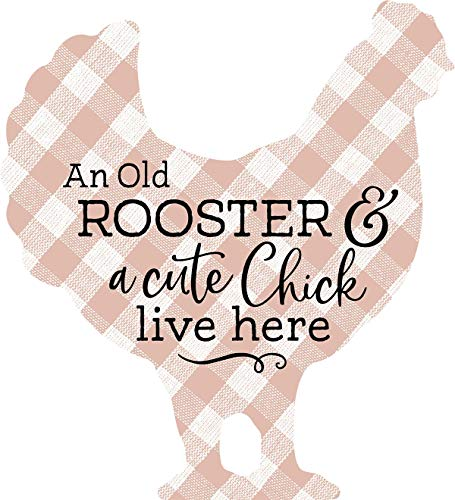 (P. Graham Dunn Old Rooster and Cute Chick Faded Red Plaid 6 x 6 Wood Decorative Shape Sign)