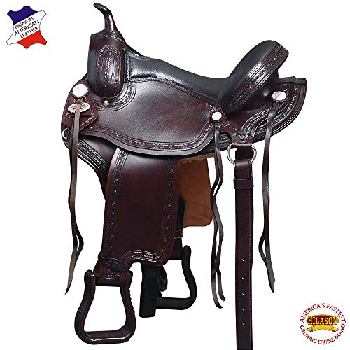 HILASON 17 in Western Horse Saddle Gaited American Leather Flex Trail