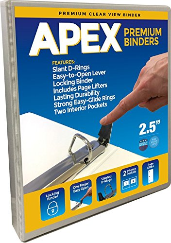 Apex Premium 3 Ring Binders, 2.5 Inch, White, Clear View with Easy Open Slant-D Rings, Pockets (3.2