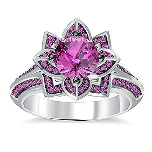 (Round Created Pink Sapphire Engagement Wedding Lotus Flower Ring in 14K White Gold Plated)