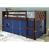 Twin Circles Low Loft Bed with Blue Tent