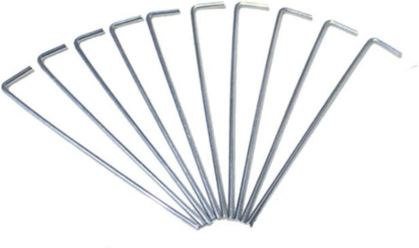 """SUPARO 6.5"""" Metal Steel Tent Pegs, 10pcs Heavy Duty Non-Rust Garden Stakes Outdoor Camping Fixed Stakes for Camping Tents, Landscaping Trim"""