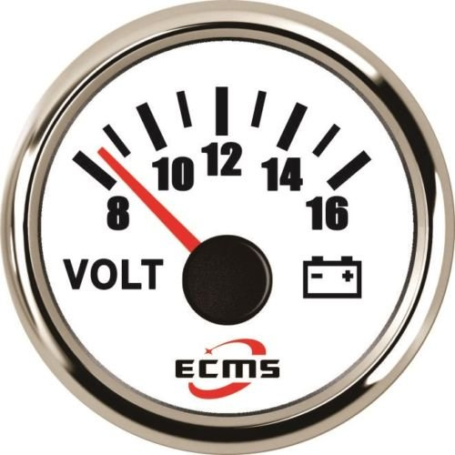 ECMS Marine Car Voltmeter Gauge 8-16V 52mm 9-32VDC SS 316L Chrome (Chrome Voltmeter)