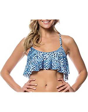 Jessica Simpson Women's Crochet Back Printed Flounce Bikini Top