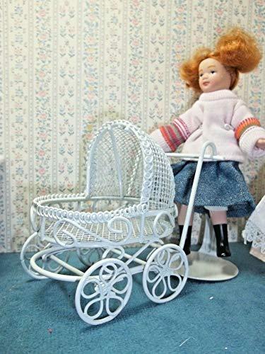 ADORABLE SMALL BUGGY/PRAM - WHITE WIRE WICKER - DOLL HOUSE MINIATURE (Dolls White Wicker Pram)