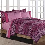 Girls Teen Hot Pink Wild Zebra 5 Piece Twin Comforter Set