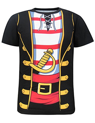 Funny World Men's Pirate Costume Short Sleeve T-Shirts (XL, Pirate)