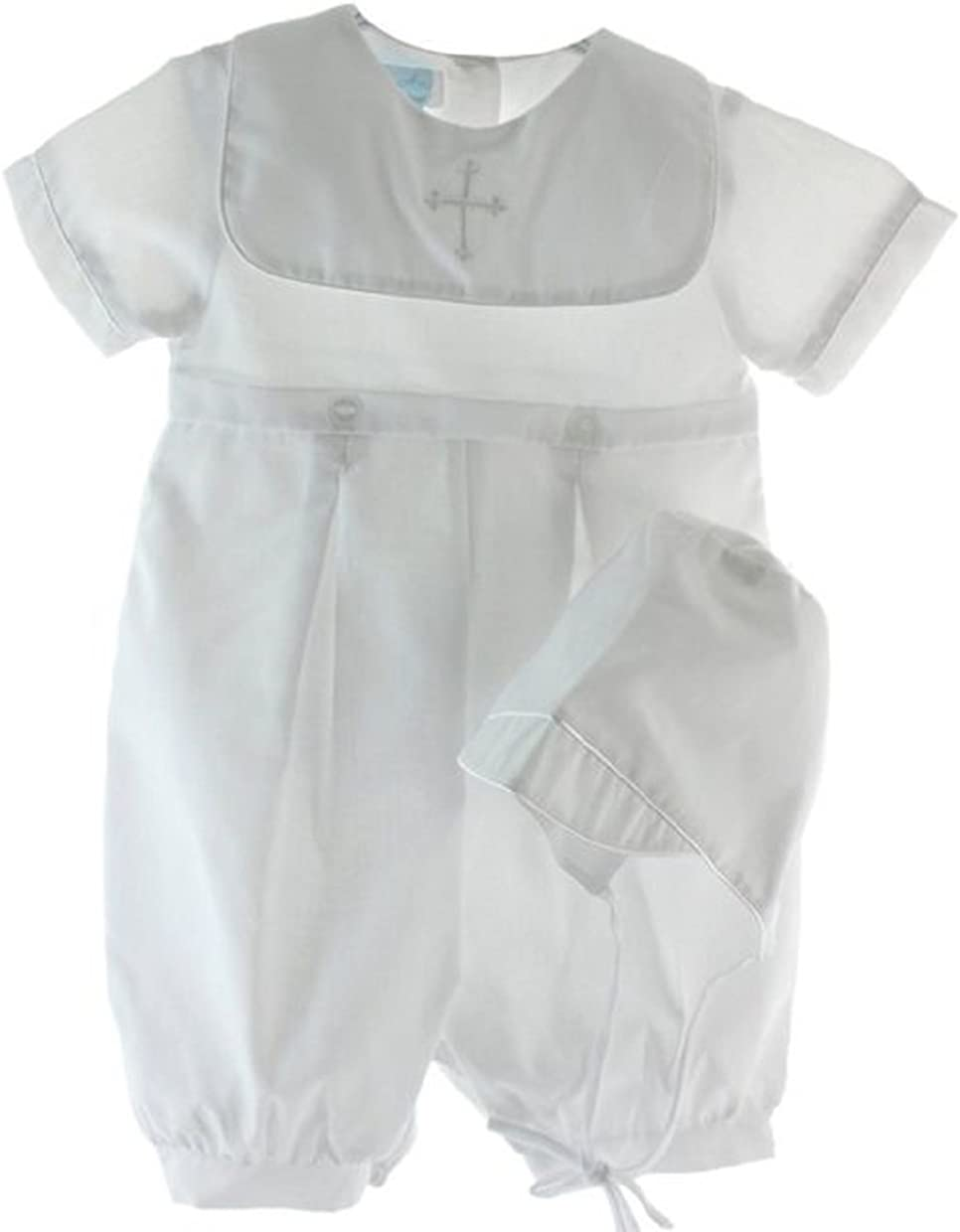 Boy White Satin Christening Romper Suit Gown Hat 0-18M